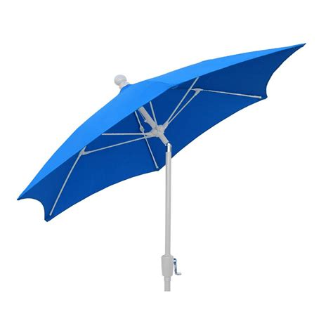Patio Umbrella White Pole 7 5 Ft Patio Umbrella With 2 White Pole Tilted And Pacific Blue Canopy 7hcrw T Pb The