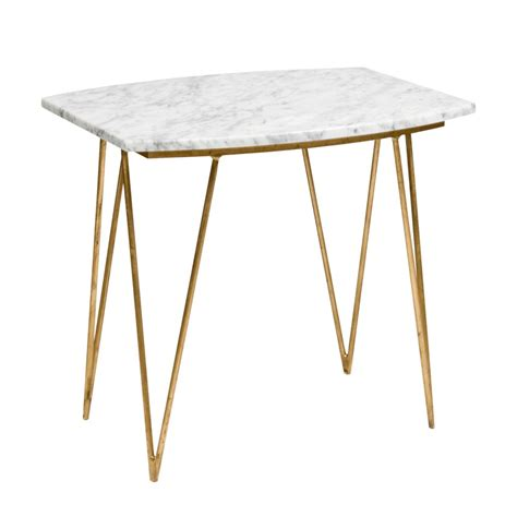White Marble Side Table by Worlds Away Suzy Hairpin Side Table In Gold Leaf With