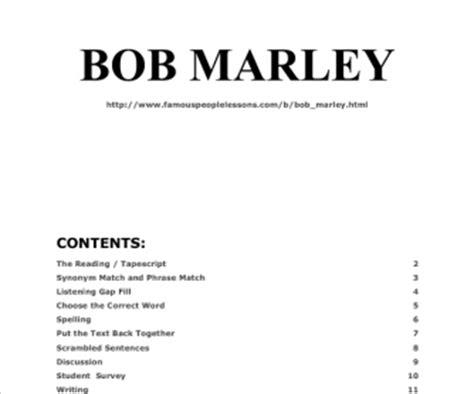 bob marley biography esl celebrities biographies busyteacher free printable