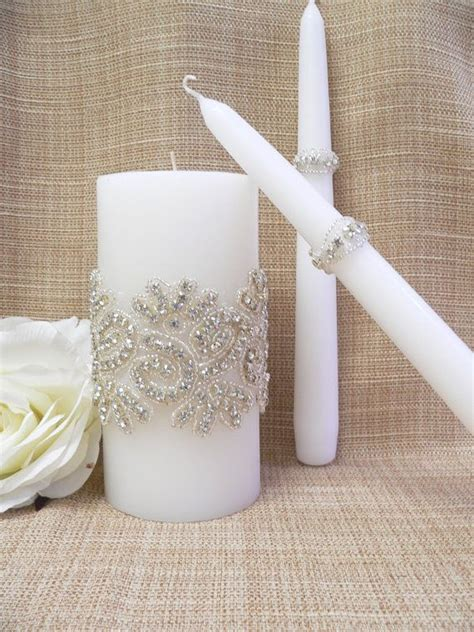 wedding candles wedding candle set crystals wedding unity candle wedding