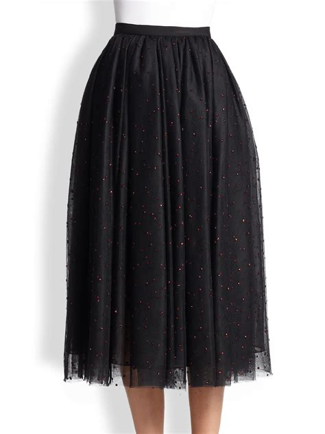 taeyn embellished tulle midi skirt in black