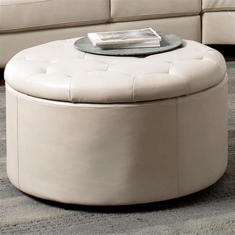 storage ottoman round coaster landen 5 pc round leather storage cocktail cream