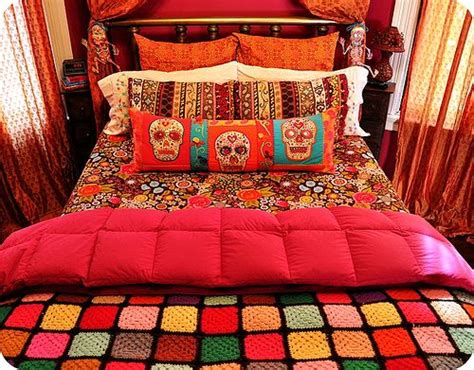 day of the dead bed set materiais e cores que aquecem wool crochet afghans and