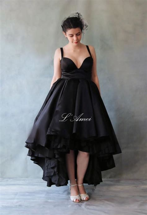 pattern dress short front long back sexy deep v neck line short front long back black wedding