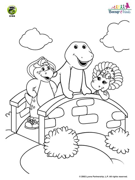 barney coloring pages games barney and friends barney on the bridge coloring page