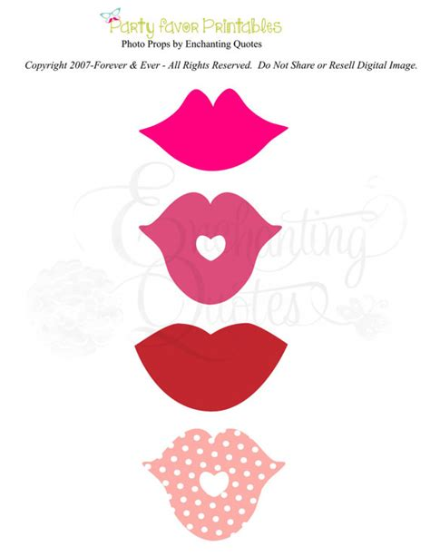 printable photo booth props lips photo props printable lips kisses by enchantingquotes on etsy