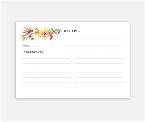 printable 4x6 recipe card template printable recipe card 4x6 recipe card recipe card template
