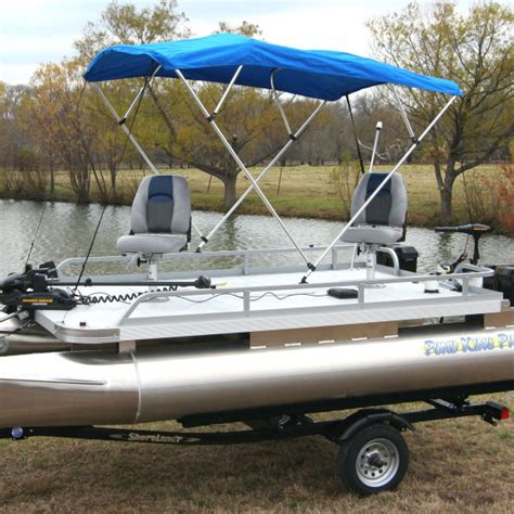 electric bimini boat top four man mini pontoon fishing boat pond king elite