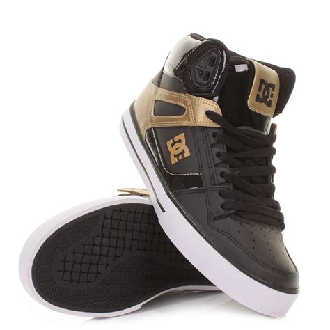 mens dc spartan high black gold hi top casual skate