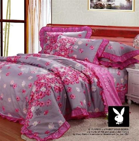 playboy bedding playboy 4 piece pink flower bedding set sygmall