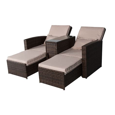 wicker chaise lounge outdoor furniture outsunny 3 piece outdoor rattan wicker chaise lounge
