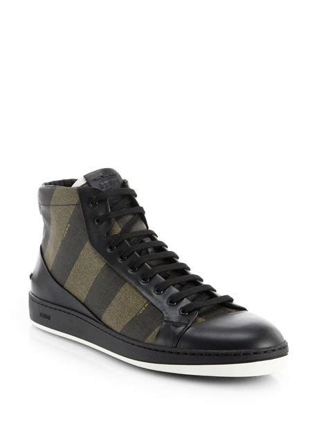 black sneakers fendi pequin high top sneakers in black for lyst