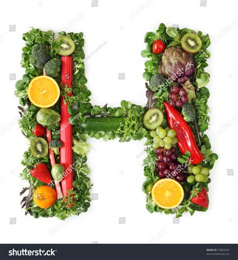 fruit with h fruit and vegetable alphabet letter h stock photo