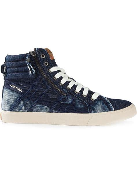 hi top sneakers mens diesel d string hi top sneakers in blue for lyst