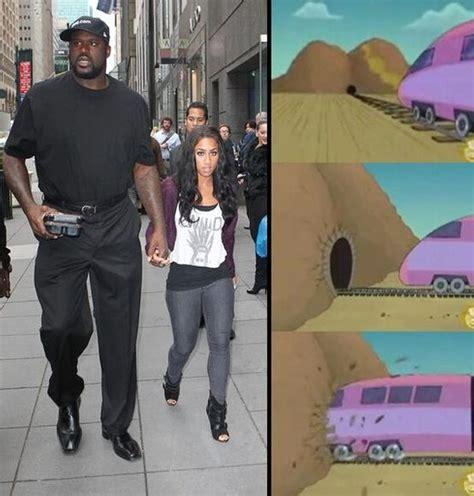 Big Black Woman Meme - big tall shaquille o neal and tiny girl shaq train don t