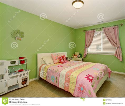 pink and green walls in a bedroom ideas perfect girls bedroom with green walls stock image