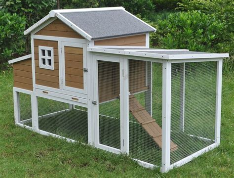Backyard Chicken Coops Review Deluxe Large Wood Chicken Coop Backyard Hen House 4 6 Chickens W Nesting Box Run Ebay