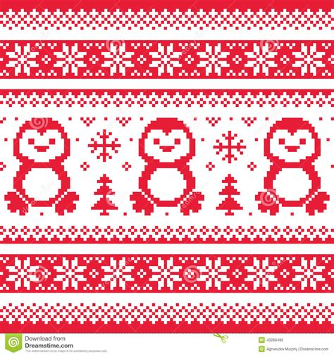 christmas pattern svg christmas winter knitted pattern with penguins