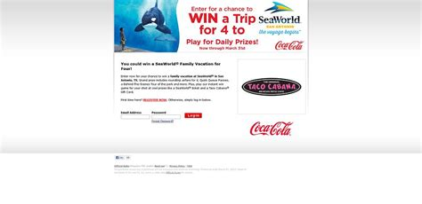 Sweepstakes For Texas Residents Only - coca cola taco cabana seaworld vacation giveaway
