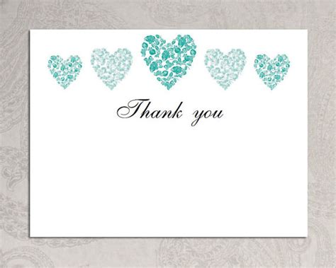 Thank You Card Template Trio Of Hearts Download Printable Teal Blank Wedding Card Templates Blue