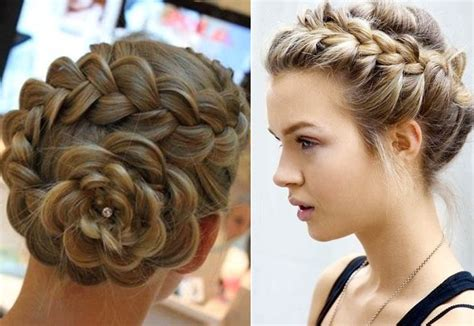 large bun with braid big braided bun hairstyles updo medium hair styles ideas