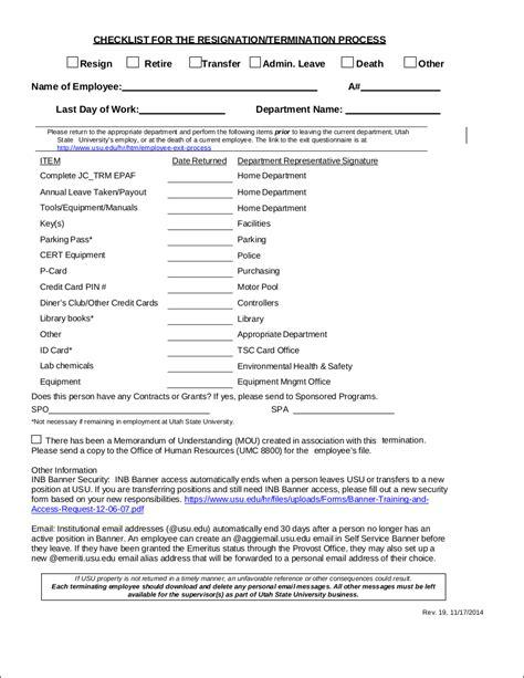 resignation checklist template 9 resignation checklist exles templates pdf