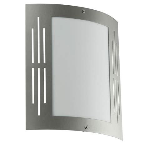 Stainless Steel Exterior Light Fixtures Eglo City Stainless Steel Outdoor Wall Mount Light Fixture 20629a The Home Depot