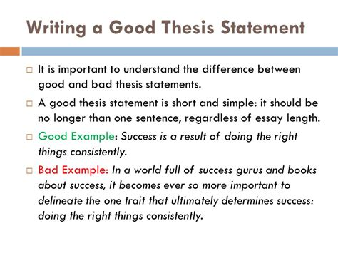 bad thesis statement exles writing a thesis statement ppt