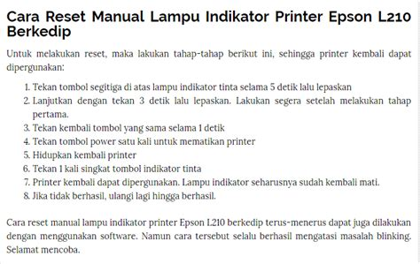 cara reset epson l210 manual cara reset manual lu indikator printer epson l210