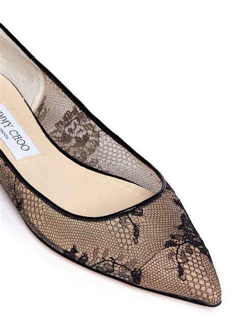 lace shoes flats lyst jimmy choo alina floral lace ballet flats in black