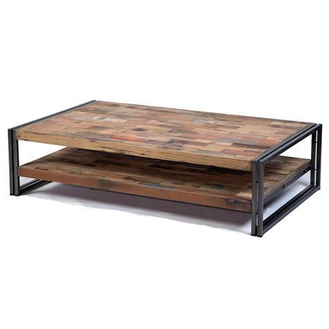 table basse rectangulaire indus en fer et de bois de