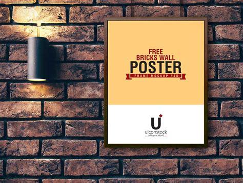 wal poster poster frame hung brick wall mounted l psd