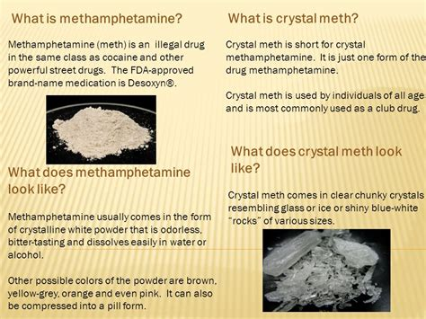 what color is meth what is methhetamine what is meth ppt