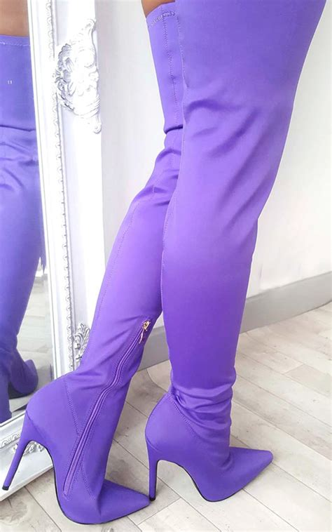 zara stretch thigh high boots  purple ikrush