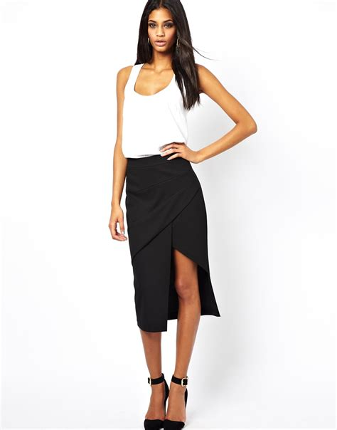 asos pencil skirt with pleat front and side split