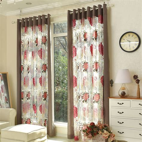 beautiful sheer curtains beautiful coffee and red flower sheer curtains