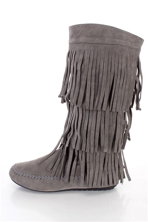 fringe seems to be thinning because of grey hair dark grey fringe tiered moccasin boots faux suede