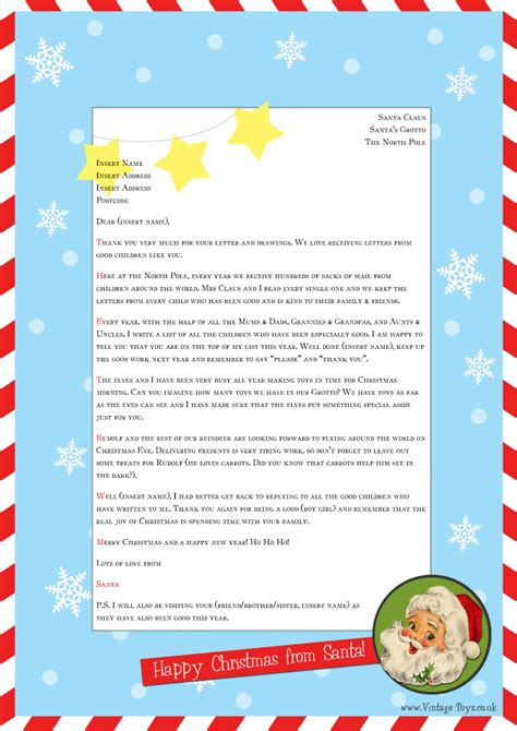 Free Letter From Santa Template For You To Download And Edit Welcome To The Vintage Toys Blog Letters From Santa Templates