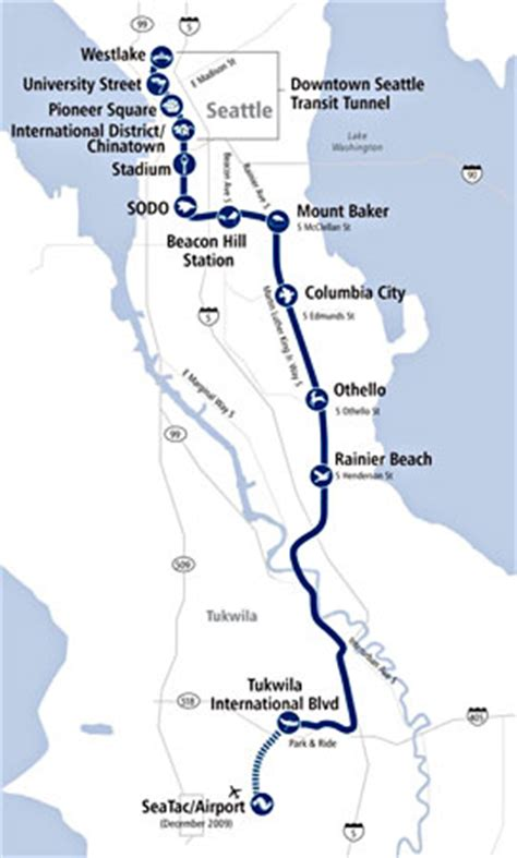 link light rail map seattle central link light rail