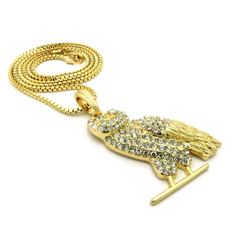 14k gold plated ovo owl on a 24inch box chain datnewice