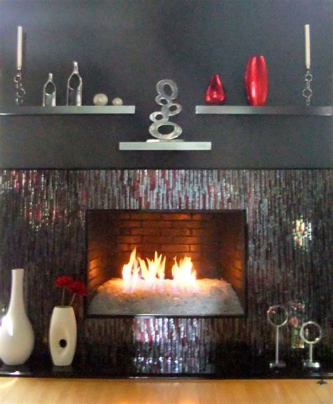 mosaic fireplace surround red silver bamboo designer glass mosaics