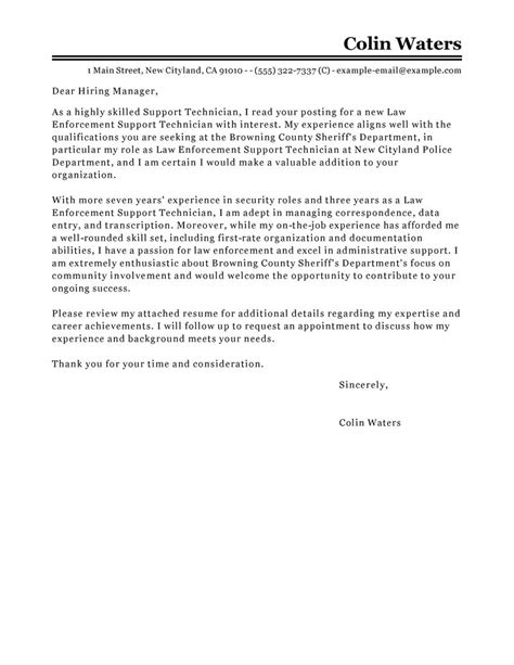 Office Technician Cover Letter by Leading Professional Service Center Technician Cover Letter Exles Resources