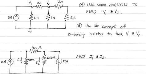 resistors conceptual questions a use nodal ananlysis to find v1 v2 b use the chegg