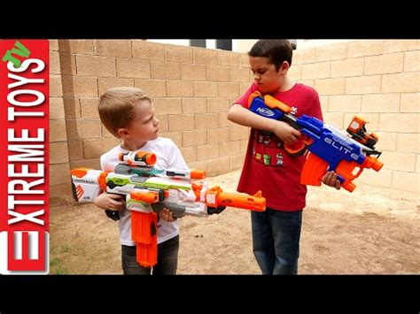 haunted doll attacks ethan and cole nerf gun fight ethan with the nerf hyperfire vs cole with