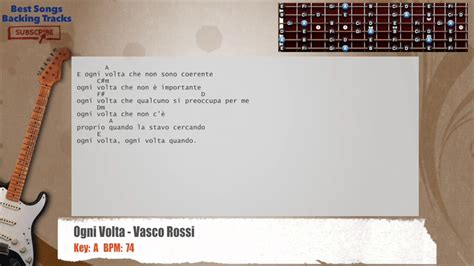 ogni volta vasco lyrics ogni volta vasco guitar backing track with chords