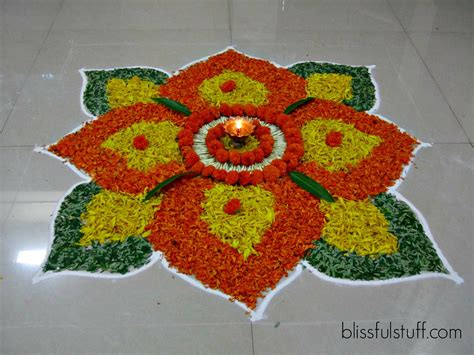 Diwali Home Decoration Items by Diwali Special Rangoli Design With Marigold Flowers How