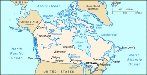 map of canada and surrounding countries canada factbook