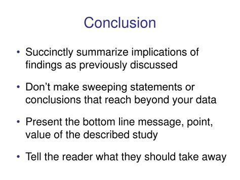 conclusion section ppt the discussion and conclusion sections powerpoint presentation id 264484