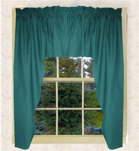 Teal Swag Curtains Solid Teal Swag Valance