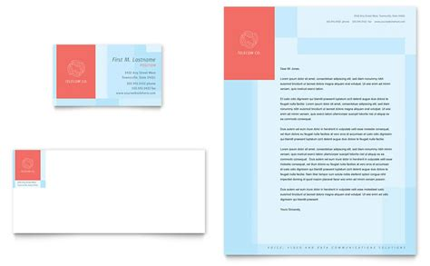 communications company business card letterhead template